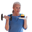Smiling Woman Holding Dumbbell and Cupcake