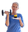 Confident Woman with Dumbbell and Cupcake
