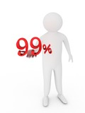 Human giving ninety nine red percentage symbol isolated on white