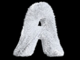 Letter A from fur rabbit alphabet