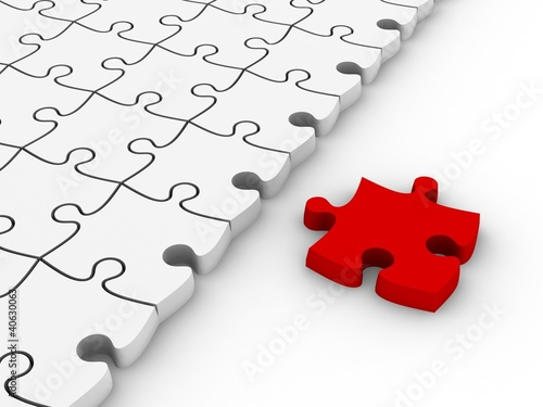 White jigsaw puzzles with one red piece