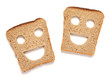 Funny bread slices on white background