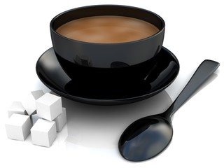 3D Coffee and sugar