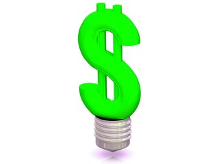 Money making idea. Light bulb with Dollar symbol.