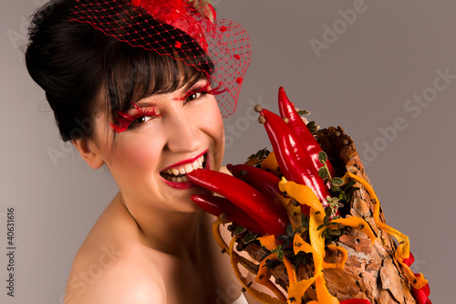 Portrait of an elegant beautiful woman with cornucopia