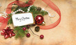 Christmas background with branch, decoration and blank note