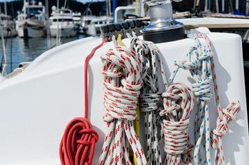 Sailing boat winch, piano lockers and ropes closeup