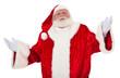 Weihnachtsmann mit ratloser Mimik und Gestik