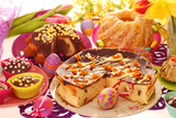 easter confectionery on festive table