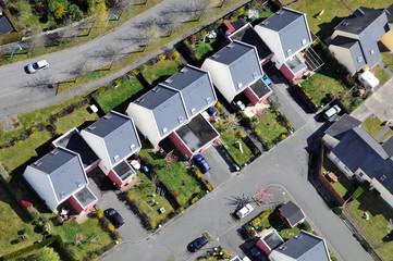 Vue aérienne de maisons