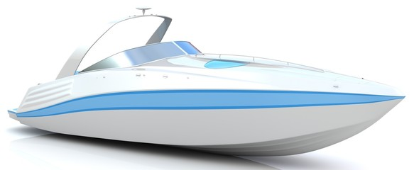 3d white speedboat isolated on a white background