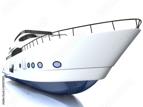 White luxury yacht isolated on a white background