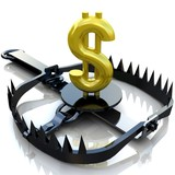 Finance risk concept. Sign dollar on bear trap.