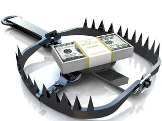 Finance risk concept. Dollar banknotes on bear trap.