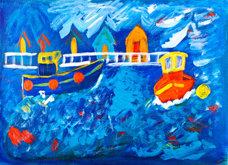 Tug boats at sea acrylic painting by Kay Gale