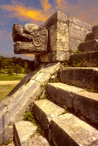 Chichen Itza, snake head in mayan ruins, Mexico