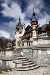 View of Peles Castle Tower, Sinaia Romania