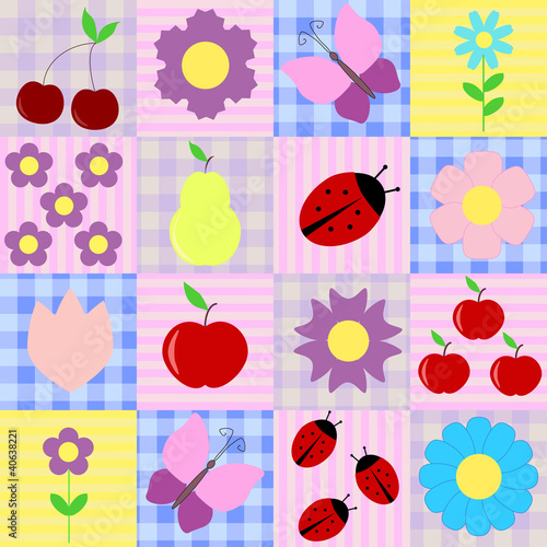 Spring background with fruits and flowers