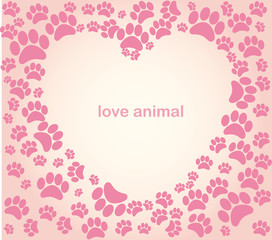 Heart animal's footprints
