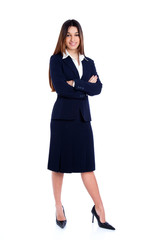 asian indian business woman full length with blue suit
