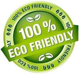 "Green Button Banner ""100 % Eco Friendly"""