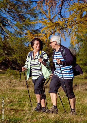 Senioren beim walking in der Natur - autumn hiking 10