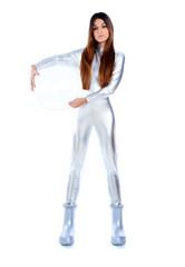 futuristic silver woman full legth holding glass helmet