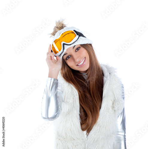 asian indian brunette winter girl with snow fur cap