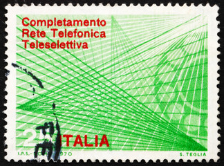 Postage stamp Italy 1970 Telephone Dial and Trunk Lines