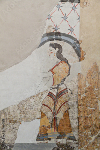 Ancient Akrotiri settlement at Santorini in Greece.