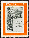 Postage stamp Italy 1973 Title Page for Book about Salvator Rosa poster