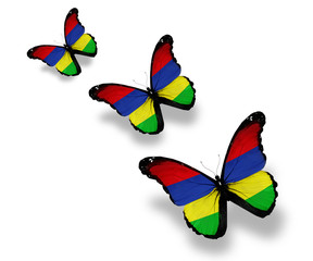 Three Mauritius flag butterflies, isolated on white