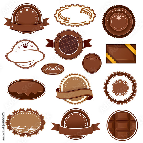 Set of chocolate badges and labels