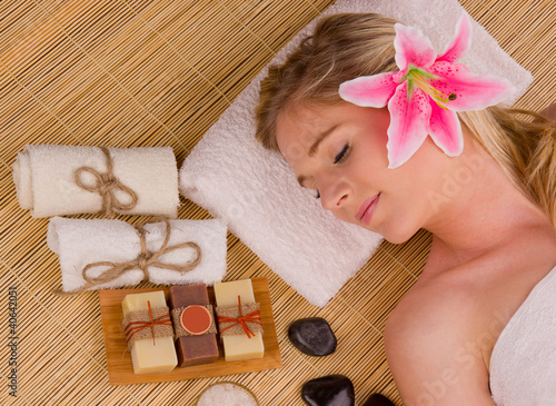Beautiful woman relaxing, concept of spa