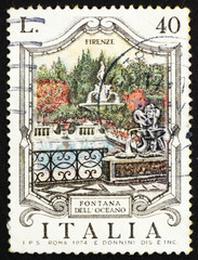 Postage stamp Italy 1974 Oceanus Fountain, Florence