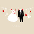"Hanging Wedding Couple & Symbols ""Mr. & Mrs."" Beige"