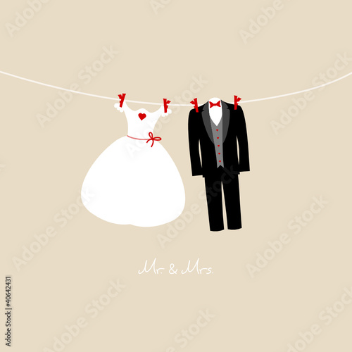 "Hanging Wedding Couple ""Mr. & Mrs."" Beige"