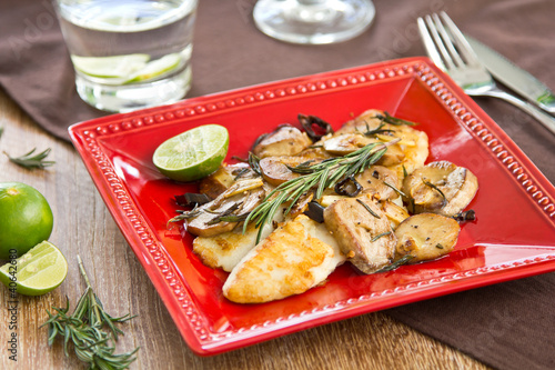 Poster Grilled Dory fish with sautéed mushroom