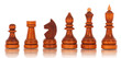Chess. a group of black wooden chess pieces