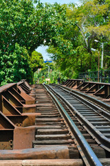 Rails resting on traditional wooden sleepers