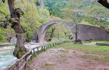 Arched stone bridge of Pyli (built 1514 AD), Thessaly, Greece