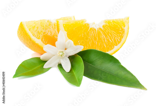Orange with a flower and leaves