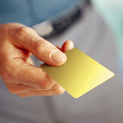 male hand showing a blank card template