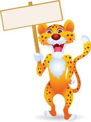 Cheetah cartoon with blank sign isolated