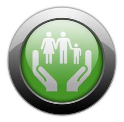 """Green Metallic Orb Button """"Social Services"""""""