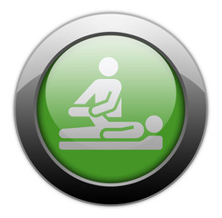 "Green Metallic Orb Button ""Physical Therapy"""
