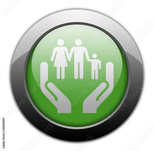 "Green Metallic Orb Button ""Social Services"""