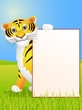 Tiger with blank sign