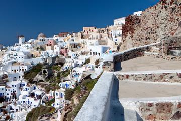 Village of Oia at Santorini island in Greece