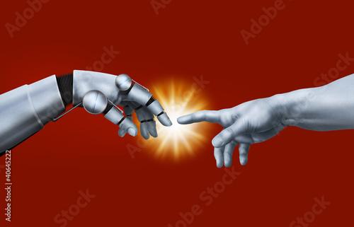 Michelangelo: Creation of Adam. Robot Hand.